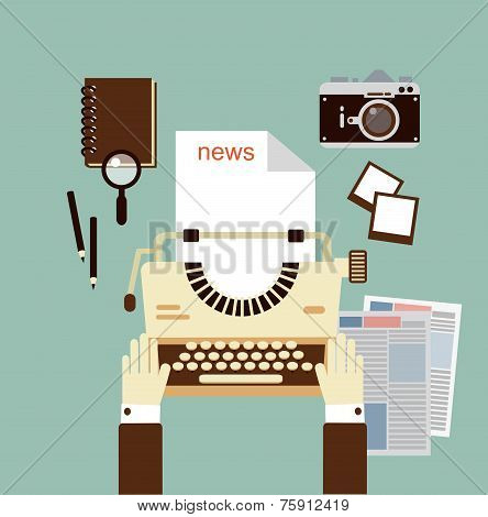 journalist publishes news on a typewriter   illustration