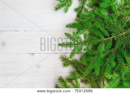 Christmas Background Greens Spruce Twigs White Wooden
