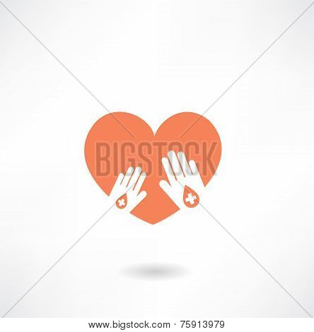 hands holding the heart donor icon