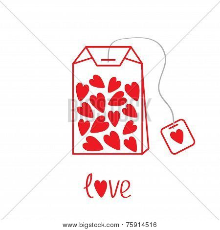 Teabag With Hearts. Love Card