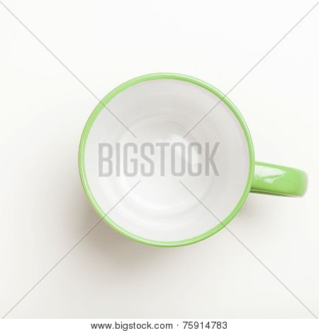 Empty Green Coffee, Tea Mug, Cup, Top View On White