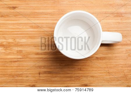 Empty Green Coffee, Tea Mug, Cup, Top View On Wood