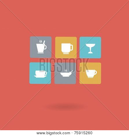 cups with different drinks icon