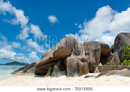 Big Granite Rock Forms at the Paradise of Anse Source d'Argent in La Digue Island, Seychelles