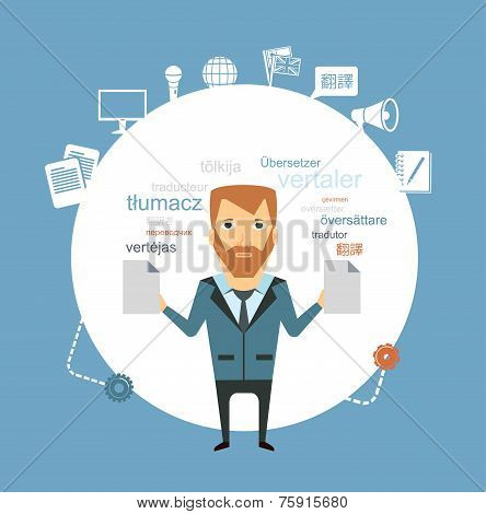 translator keeps documents illustration