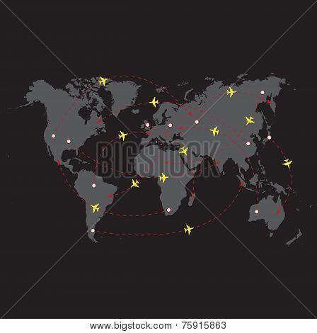 Vector illustration night travel world