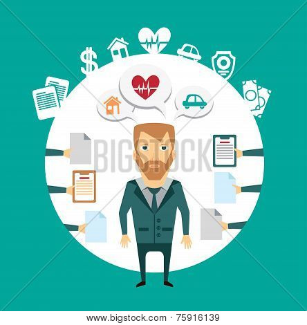 insurance agent works with clients illustration