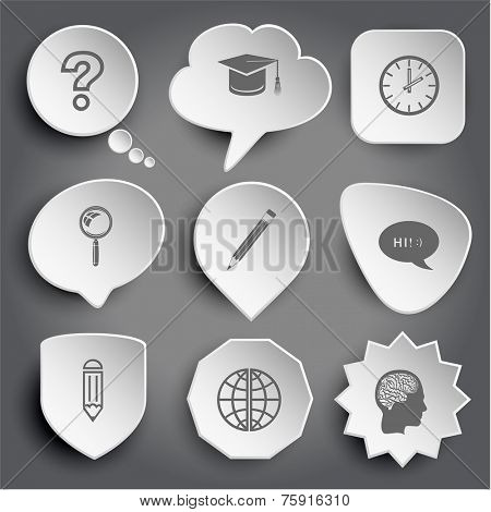 query sign, graduation cap, clock, magnifying glass, pencil, chat symbol, globe, human brain. White vector buttons on gray.
