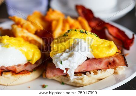 Delicious breakfast with eggs Benedict
