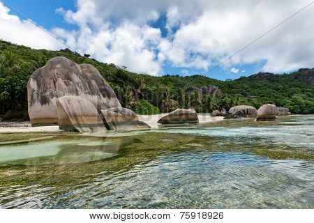 Boulders on Shoreline of Isolated Beach, Anse Source D'argent, La Digue, Seychelles