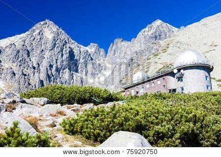Lomnicky Peak and observatory at Rock Tarn (Skalnate pleso), Vysoke Tatry (High Tatras), Slovakia