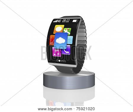 Dark Grey Bent Interface Smartwatch On Showcase