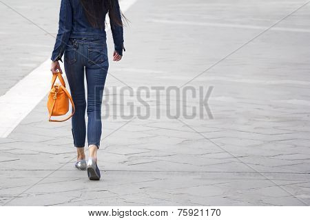 Woman With Orange Bag