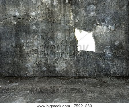 Large Blank Hole On Old Mottled Concrete Wall