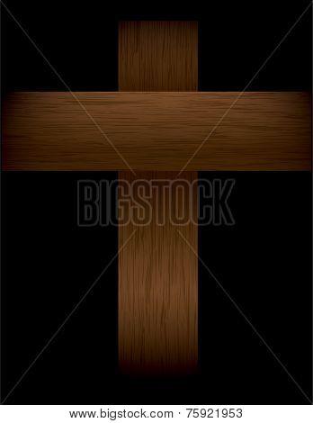 Wooden Cross On Black Illustration