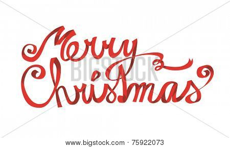 Merry christmas red ribbon hand drawn lettering