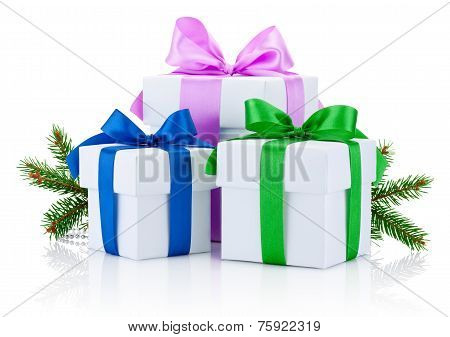 Three White Boxs Tied With Colored Satin Ribbons Bow And Pine Tree Branch Isolated On White Backgrou