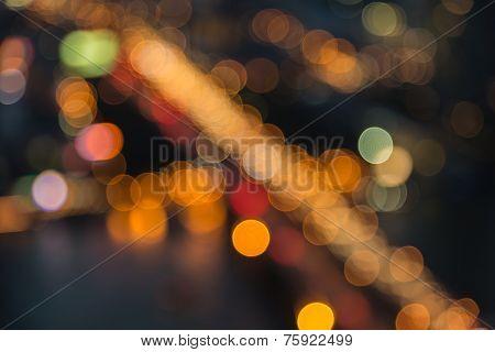 Sathon Bridge bokeh effect of Bangkok City view