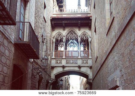 Gothic quarter bridge in Barcelona, Spain