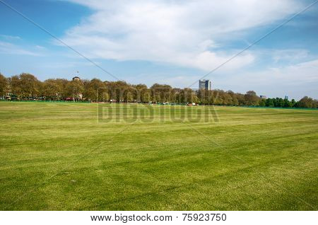 Fresh Look Grassy Landscape in Panorama View with Green Trees Afar on Lighter Blue And White Sky Above.