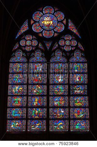 Stained Glass Window In Notre Dame De Paris