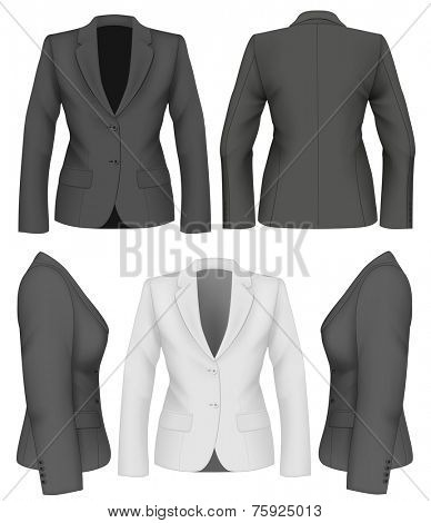 Ladies suit jacket for business women (front, back and side views). Formal work wear. Vector illustration.