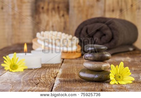 Zen Basalt Stones And Spa Oil With Candles
