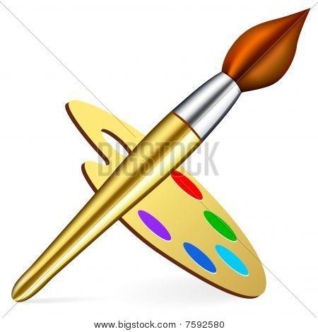 Vector artist's palette and brush