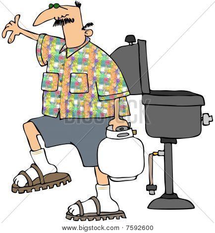 Hombre llenar su tanque de barbacoa