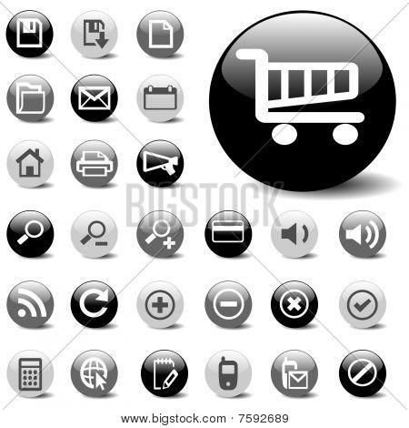 vector icon set in black, gray, & white