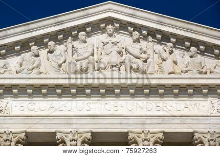 Frieze on top of Supreme Court house