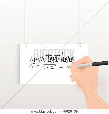 Hanging Handwritten Sign