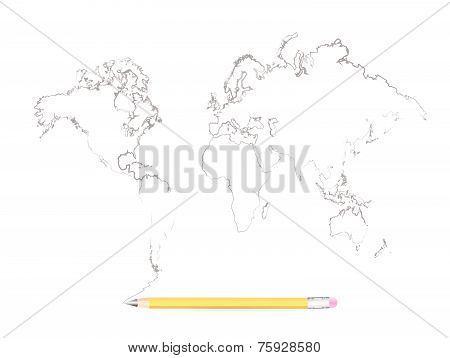 World Map In Pencil