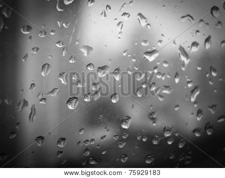 Raindrops on the window BW 002
