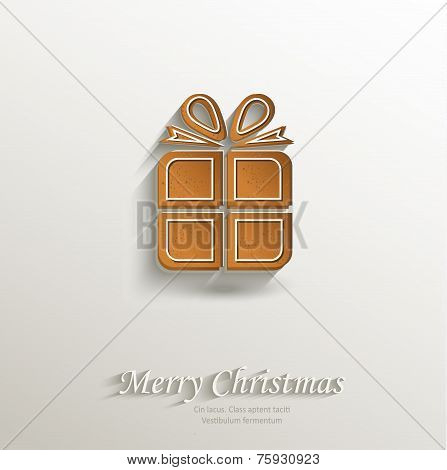 gingerbread gift packet card paper 3D natural vector