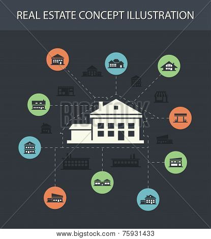 Illustration of buildings flat design composition with icons