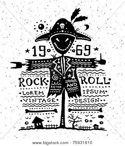 Illustration of vintage grunge label with scarecrow