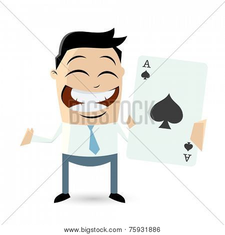 happy man with ace of spades