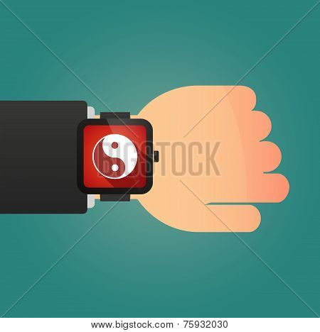 Hand With A Smart Watch Displaying A Ying Yang