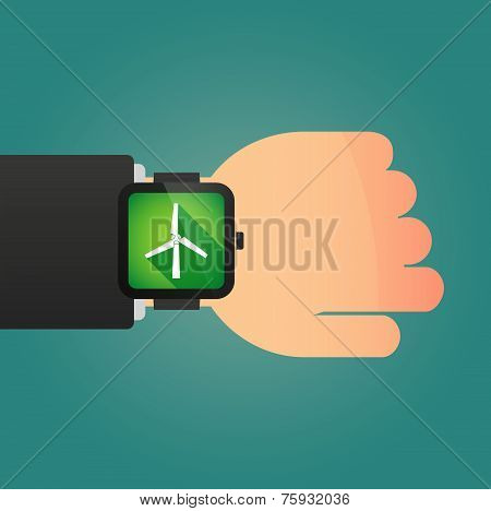 Hand With A Smart Watch Displaying A Wind Generator