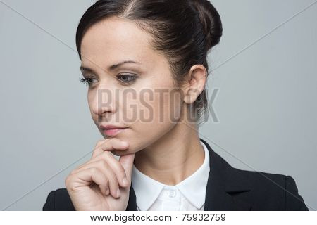 Pensive Businesswoman Portrait Close-up