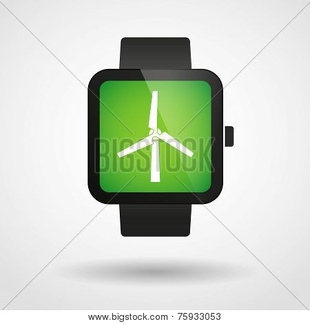 Smart Watch Icon With A Wind Generator