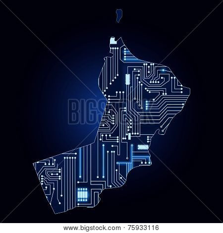 Map Of Oman With Electronic Circuit