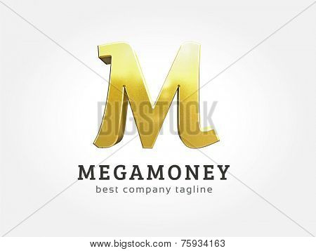 Abstract 3d M character logo icon concept. Logotype template for branding and corporate design