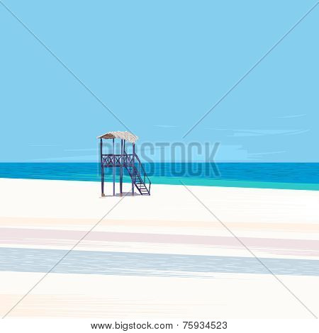 Lifeguard tower on a white sand beach