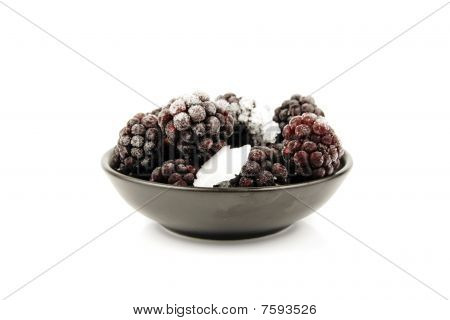 Frozen Blackberries In A Bowl