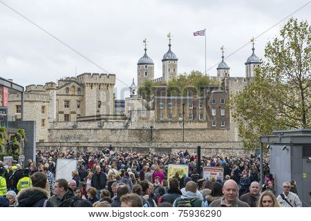 LONDON, UK - NOVEMBER 08: Crowd in front of Tower of London one day before remembrance day. November 08, 2014 in London. The public attended to admire the temporary ceramic poppies art installation.