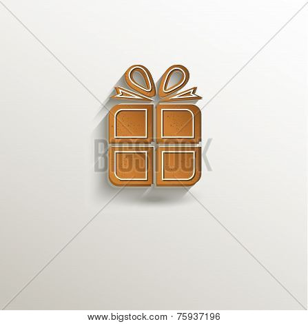 gingerbread gift packet card paper 3D natural raster