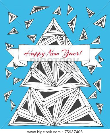 Christmas card made by hand drawn triangles