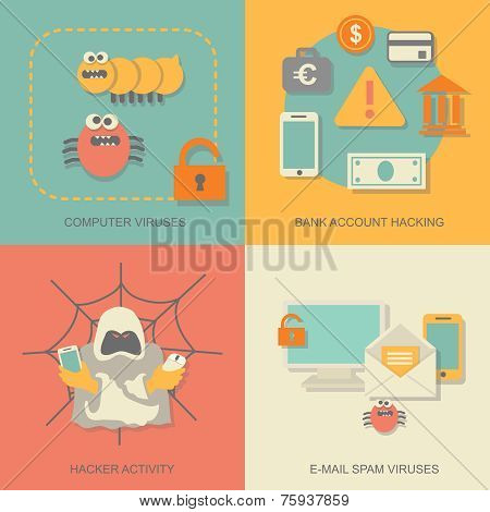 Hacker activity computer and e-mail spam viruses icons set isolated vector illustration